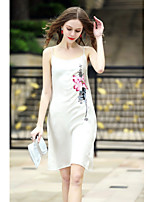 REVIENNE BAY Women's Plus Size Holiday Going out Shift DressFloral Embroidered Round Neck Knee-length Sleeveless Others Spring Summer Mid Rise
