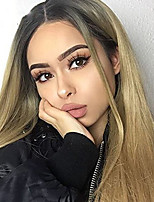 Trendy Silky Straight Blonde with Dark Root Synthetic Lace Front Wig for Women Hair High Temperature Heat Reisistant Wig Sexy Club Party Hair