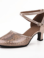 Damen Latin Glitzer Paillette Sandalen Aufführung Pailletten Glitter Stöckelabsatz Schokolade Rot 5 - 6,8 cm