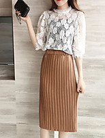 Women's Casual/Daily Modern/Comtemporary Summer T-shirt Skirt Suits,Solid Round Neck Half Sleeve