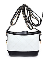 Women Shoulder Bag PU All Seasons Wedding Event/Party Casual Sports Formal Outdoor Office & Career Barrel Chain Plaid ZipperBlack/White