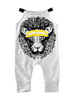 Baby Print One-Pieces Cotton Blends Summer Sleeveless Lion Harness Baby Girls Romper Jumpsuits