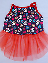 Dog Dress Dog Clothes Casual/Daily Skulls Blue Orange