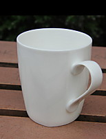 Tangshan Bone Porcelain Pure White Vertical Bar Mugs Titanium Coffee Cups