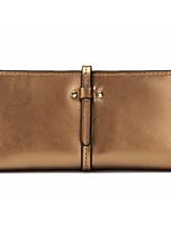 Women Checkbook Wallet Cowhide All Seasons Casual Rectangle Zipper Fuchsia Aquamarine Gold