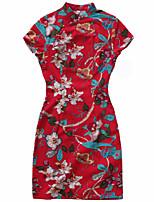 One-Piece/Dress Classic/Traditional Lolita Vintage Inspired Cosplay Lolita Dress Print Vintage Sleeveless Cheongsam For Linen Cotton