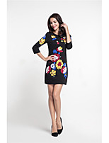 MARCOBOR Women's Party Work Vintage Street chic Sophisticated Sheath DressPrint Embroidered Round Neck Above Knee 3/4 Length Sleeve Polyester