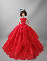 Party/Evening Dresses For Barbie Doll Red Princess Dress For Girl's Doll Toy
