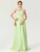 2017 TS Couture Formal Evening Dress - Floral See Through A-line Jewel Sweep / Brush Train Chiffon Stretch Satin withBeading Buttons Crystal