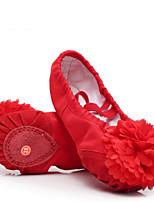 レディース バレエ キャンバス フラット ダンスパフォーマンス フラットヒール ホワイト ブラック レッド ピンク アーモンド 2.54cm以下