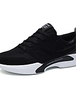 Men's Sneakers Comfort Mary Jane Fall Winter Fabric Athletic Casual Outdoor Lace-up Flat Heel Black Black/White Black/Red Flat