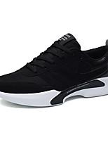 Для мужчин Кеды Удобная обувь Туфли Мери-Джейн Ткань Осень Зима Атлетический Повседневные Шнуровка На плоской подошвеЧерный Черно-белый