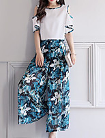 Women's Daily Modern/Comtemporary Spring T-shirt Pant Suits,Floral Print Bateau Half Sleeve