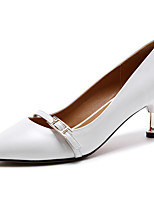 Women's Heels Light Soles Summer Cowhide Walking Shoes Casual Stiletto Heel White Black 2in-2 3/4in