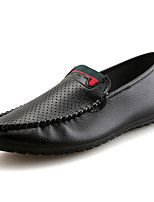 Men's Oxfords Moccasin Rubber Spring Fall Outdoor Moccasin Flat Heel Black White Under 1in