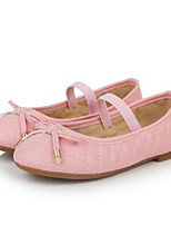 Girls' Flats Comfort PU Spring Fall Casual Walking Comfort Magic Tape Low Heel Blushing Pink Ruby Beige Flat