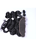 2Pcs 200g Natural Black Body Wave Brazilian Remy Hair Wefts with 1Pcs Free Part 13x4  Ear To Ear Lace Frontal Closures Human Hair Extensions/Weaves