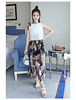 Women's Daily Soak Off Summer Blouse Skirt Suits,Floral Print Round Neck Sleeveless