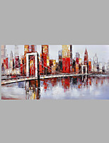 IARTS® Modern Abstract Modern City Architecture & Bridge Scenery Handmade Oil Painting On Canvas with Stretched Frame Wall Art For Home Decoration Rea