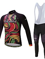 CYCEARTH Cycling Jersey with Bib Pants Long Sleeve Bike Clothing Suits Quick Dry Polyester Autumn Spring Bicycle Sport Breathable Clothes