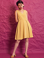 EVEN THOUGHWomen's Casual/Daily A Line DressSolid V Neck Midi Sleeveless Polyester Summer Mid Rise Inelastic Thin