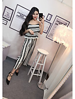 Women's Daily Soak Off Summer Blazer Dress Suits,Striped Round Neck Sleeveless