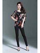 Tee-shirt Femme,Imprimé Sortie Décontracté / Quotidien Vintage Sophistiqué Eté Demi Manches Col Arrondi Soie Polyester Autres Moyen