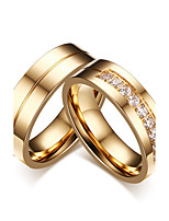 2PCS Couple's Rings  Simple Style Classic Elegant Cubic Zirconia Titanium Steel Jewelry For Wedding Engagement Party