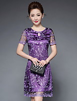 YBKCP Women's Party Plus Size Going out Chinoiserie Sheath DressEmbroidery Round Neck Knee-length Short Sleeve Others Spring Summer Mid Rise