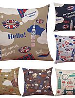 Set of 6 Creative Simple British Elements  Pattern Linen Pillowcase Sofa Home Decor Cushion Cover  Throw Pillow Case (18*18inch)