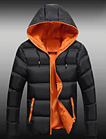 Men's Padded Coat,Simple Active Daily Casual Solid Color Block-Cotton Polyester Cotton Long Sleeve
