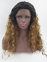 Natural Straight Long Black Brown Ombre Wigs Synthetic Lace Front Wig Heat Resistant Fiber Two Tone Hair For Women