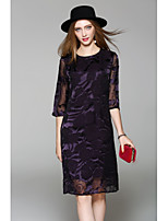 WHALE STUDIO Women's Going out Casual/Daily Vintage Street chic Lace DressSolid Round Neck Knee-length Half Sleeve Polyester Spring Summer Mid Rise
