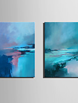 Mini Size E-HOME Oil painting Modern Abstract Blue Coast Pure Hand Draw Frameless Decorative Painting  Set of 2