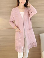 Women's Casual Simple Long Cardigan,Solid V Neck Long Sleeve Cotton Fall Medium Micro-elastic