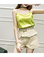 Women's Casual/Daily Casual Summer Tank Top Pant Suits,Color Block Strap Sleeveless Micro-elastic