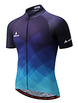 Cycling Jersey Men's Short Sleeve Bike Jersey Reflective Strip Quick Dry Stretchy Breathability Polyester Coolmax Spring/Fall Summer