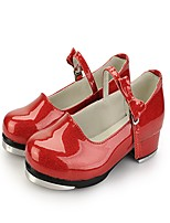 Women's Tap Patent Leather Leatherette Heels Practice Satin Flower Low Heel Light Red Black White 1