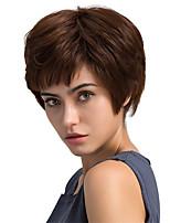 Пушистые натуральные косые короткие короткие волосы человеческие волосы парики для женщины