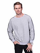Men's Fashion Zipper Decoration O Neck Simple Casual Long Sleeve Pullover Sweatshirt