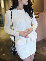 Women's Daily Modern/Comtemporary Winter T-shirt Skirt Suits,Solid Round Neck Long Sleeve