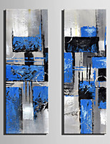 Mini Size E-HOME Oil painting Modern BlueBblock Abstract Painting Pure Hand Draw Frameless Decorative Painting Set of 2