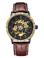 Per uomo Orologio scheletro orologio meccanico Giapponese Carica automatica Nottilucente Pelle Banda Marrone