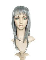 Femme Long Gris Raide Droit crépu Cheveux Synthétiques Sans bonnet Perruque de Cosplay