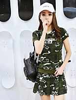Women's Other Casual Other Summer T-shirt Pant Suits,Camouflage Hooded Short Sleeve