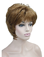 New Arrival Short Straight Brown Highlights Gray Synthetic Hair Full wig Women's Thick Wigs For Everyday