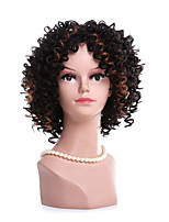 Fashion Black To Brown Ombre Color Kinky Curly Synthetic Wigs For Afro Women Wigs