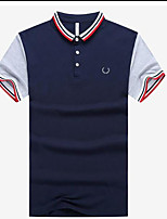 Men's Casual/Daily Simple Polo,Print Letter Shirt Collar Long Sleeve Cotton Others
