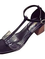 Damen Slippers & Flip-Flops Komfort Leuchtende Sohlen PU Sommer Normal Kleid Komfort Leuchtende Sohlen Perle Block Ferse Schwarz Beige2,5