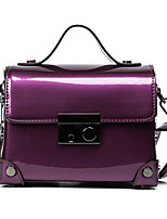 Women Shoulder Bag PU All Seasons Casual Outdoor Square Magnetic Purple Blushing Pink Red Green
